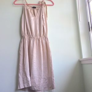 100% SILK champagne halter dress